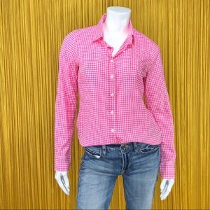 J. CREW Pink Gingham Long Sleeve Top Small